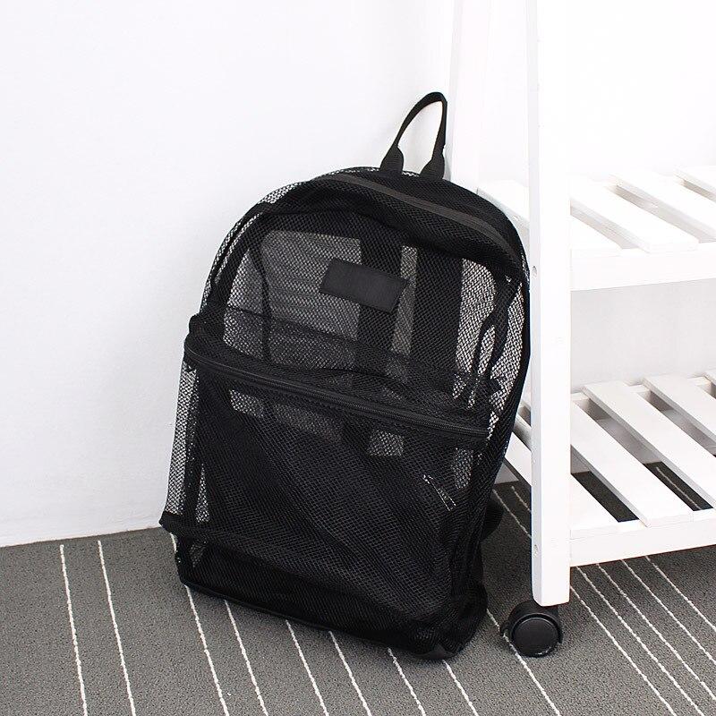 Fashion Women Transparent Backpack  Mesh Backpack For Boys And Girls Light Weight Rucksack Travel Shoulder Bag