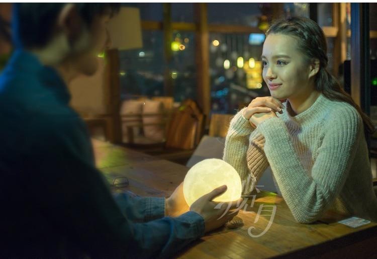 3D afdrukken maan nachtlampje lamp opladen luna light best gift ronde licht gratis verzending - 2