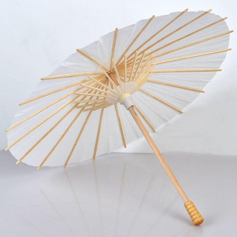 60/84CM Handmade DIY Branco Puro Mulheres Guarda-chuva Guarda-chuva de Papel Decorativo de Bambu Japonês Clássico Estilo Chinês Guarda Chuva