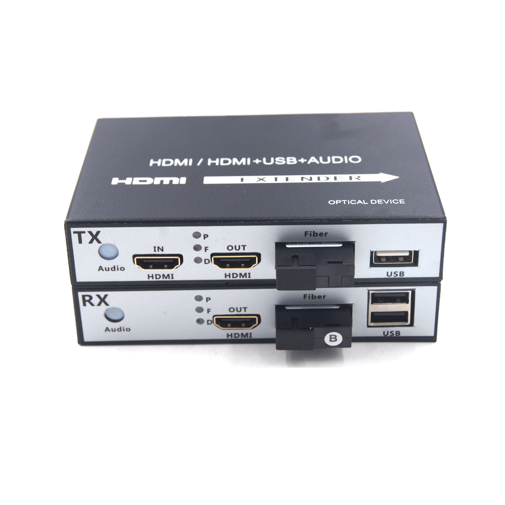 High Quality HDMI Extender HDMI over Fiber optic media converters with KVM USB2 0 and loop