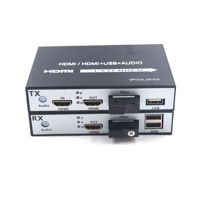 Высокое качество HDMI удлинитель, HDMI по волокну Оптические медиаконвертеры с KVM USB2.0 и петлей, HD 1080 p HDMI по волокну до 20 км
