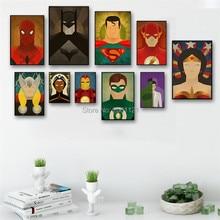 HD Prints Modern Marvel Superhero Canvas Painting For Boy Kids Room cartoon Poster Batman Spider man Green Lantern Wall Picture