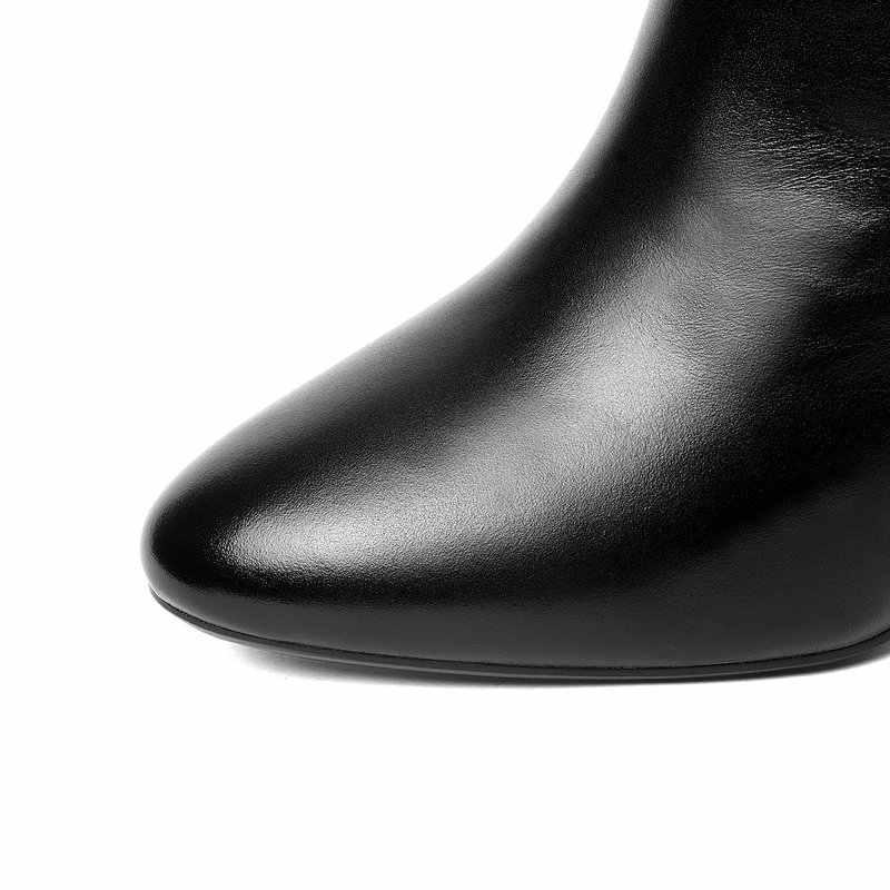 2019 kuh leder frauen stiefeletten high heels winter herbst kleid schuhe frau schwarz braun mode stiefel frau