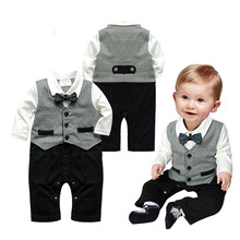 Cotton Baby Rompers Spring Baby Boy Clothes 2017 Newborn Baby Clothes Gentleman Roupas Bebe Party Kids Clothes Infant Jumpsuits стоимость