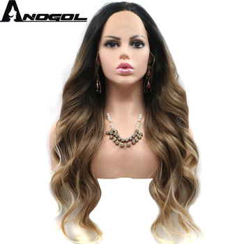 цена на Anogol Black Ombre Brown Synthetic Lace Front Wig with Blonde tips Long Body Wave Heat Resistant Wigs for Women