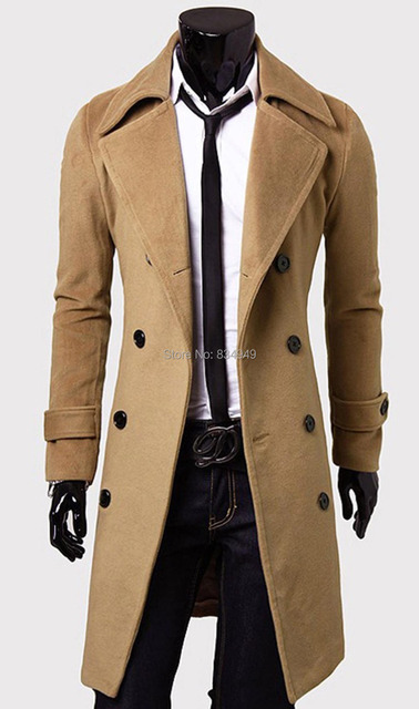 Custom Made Brown Trench Coat Men, Double Breasted Winter Overcoat ...