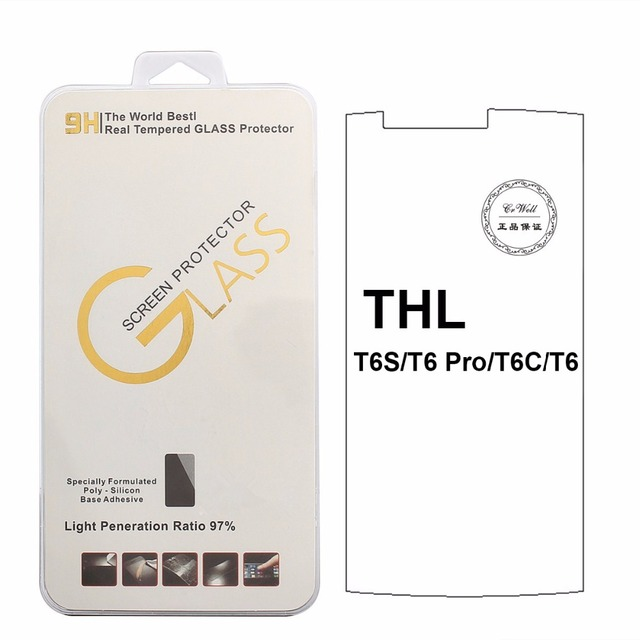 For THL T6 Pro T6S T6C / W200/T9 pro/t7/ t9 plus/2015A Tempered Glass 9H 2.5D High Quality Protector Filmfree white edge liquid