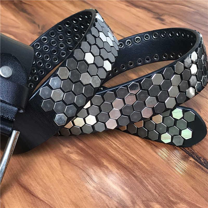Berat Pelat Logam Koboi Belt Asli Kulit Jeans Ikat Pinggang untuk Pria Vintage Punk Pria Belt Ceinture Homme Pria Tali MBT0521