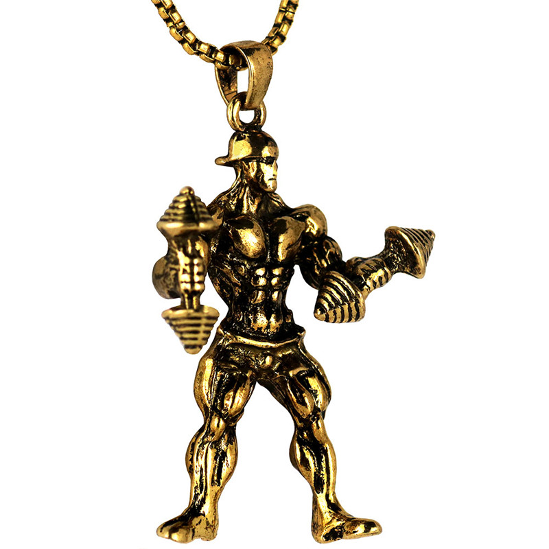 ①  Сильный Человек Гантели Ожерелье Из Нержавеющей Стали Золотой Цвет Цепи Прохладный CrossFit Ожерелье ★