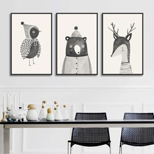 Woodland Animals Deer Bear Bird Canvas Painting Modular Wall Art Pictures Nordic Cartoon Posters and Prints for Baby Room Decor