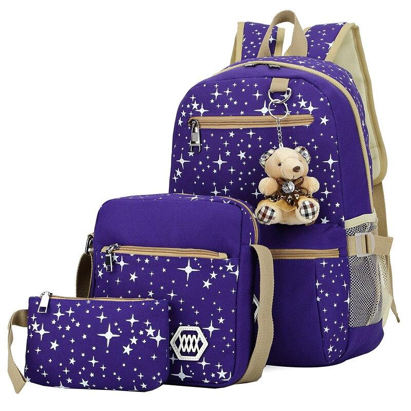 Children Kids Women Canvas Shoulder Bag Printing Bag School Backpack Rucksack