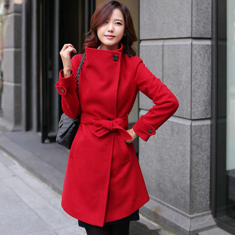 QMGOOD Womens Winter Coats Fashion Elegant Women Long Coat Warm Slim Wool Coat Cashmere Overcoat Red Black Female Jacket Korean