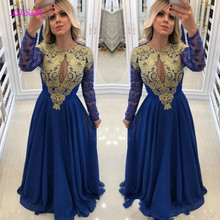 Royal Blue Long Sleeve Prom Dresses Chiffon Lace Beaded Middle East Appliques Formal Gowns Robe De Bal Evening Dress