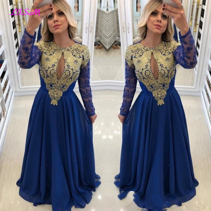 Royal Blue Long Sleeve Prom Dresses Chiffon Lace Beaded Middle East Appliques Beaded Formal Prom Gowns Robe De Bal Evening Dress