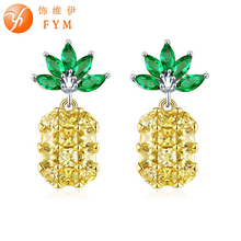 FYM high quality pineapple shape bijoux statement Earring Cubic Zirconia Stud Earrings Jewelry Accessories for women party
