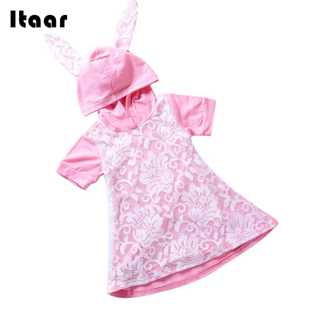 Pink Hooded Dress Baby Lace Dress Girl Dresses Soft Comfortable Rabbit Ears Dress Lace Baby Summer Toddler Home