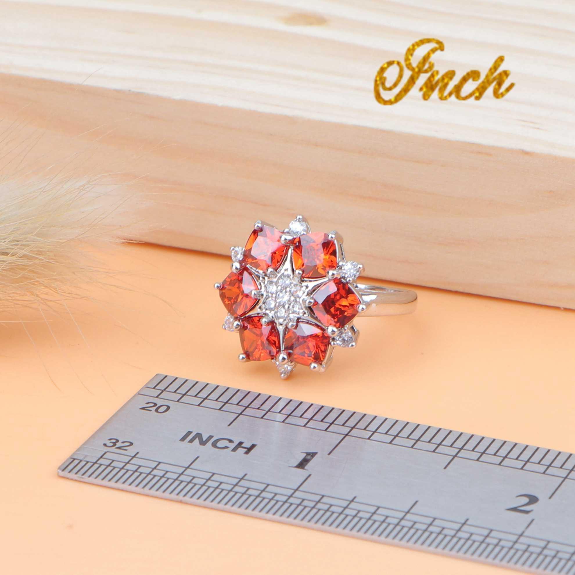 Silber 925 Braut Schmuck Setzt Steine Ohrringe Für Frauen Hochzeit Zirkonia Schmuck Ring Anhänger Halskette Kostüm Set Geschenk Box