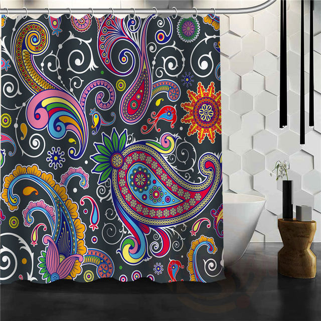 Latest Hot Creative Paisley Shower Curtain Pattern Personalized Custom Bath Fabric Polyester Beautiful H0308
