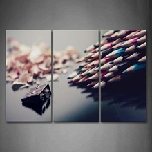 3 Piece Wall Art Painting A Bundle Of Pencils And Little Pencil Knife Print On Canvas The Picture Art 4 Pictures