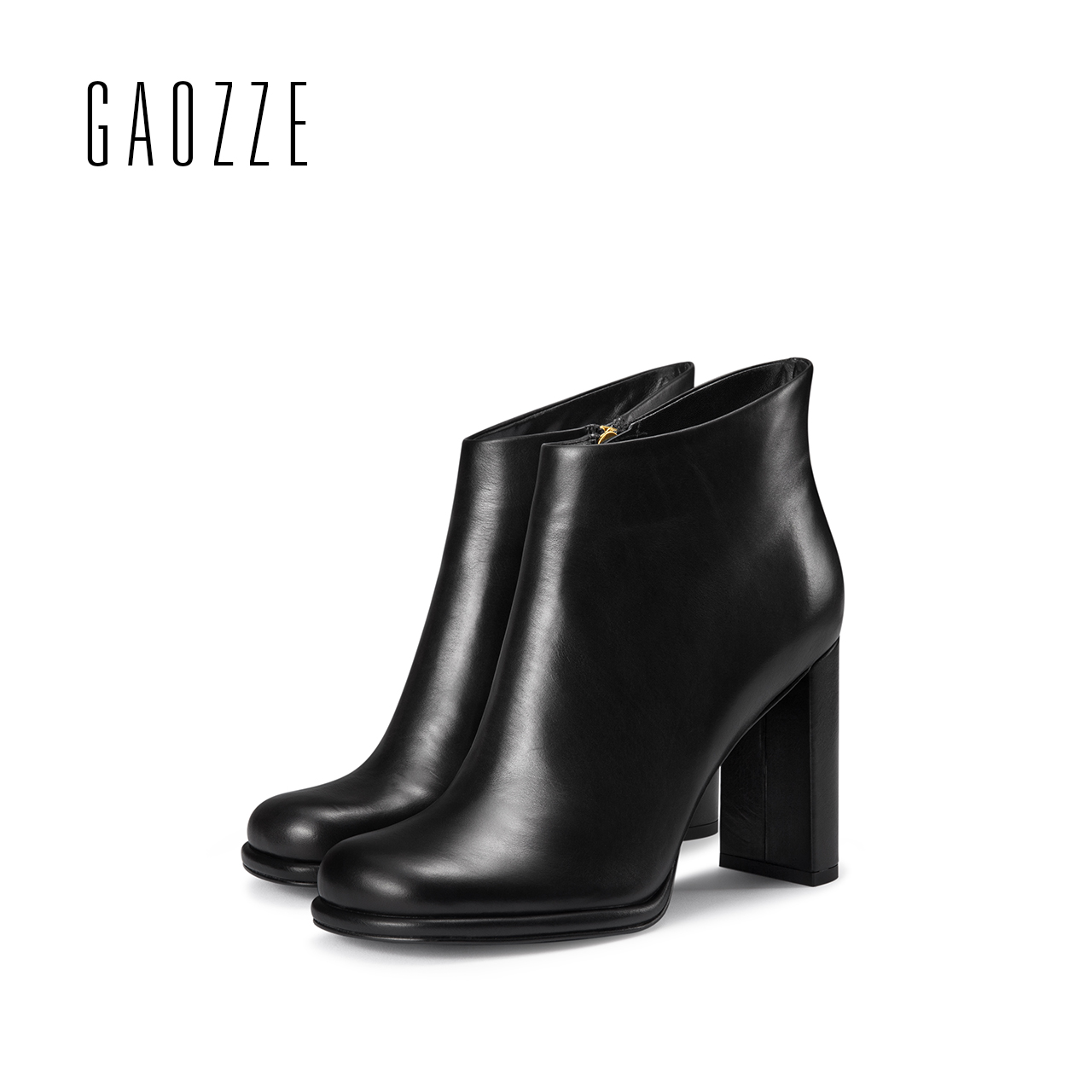 GAOZZE high heel women boots 2017 autumn new round head thick heel female boots side zipper ankle boots for women black leather цена