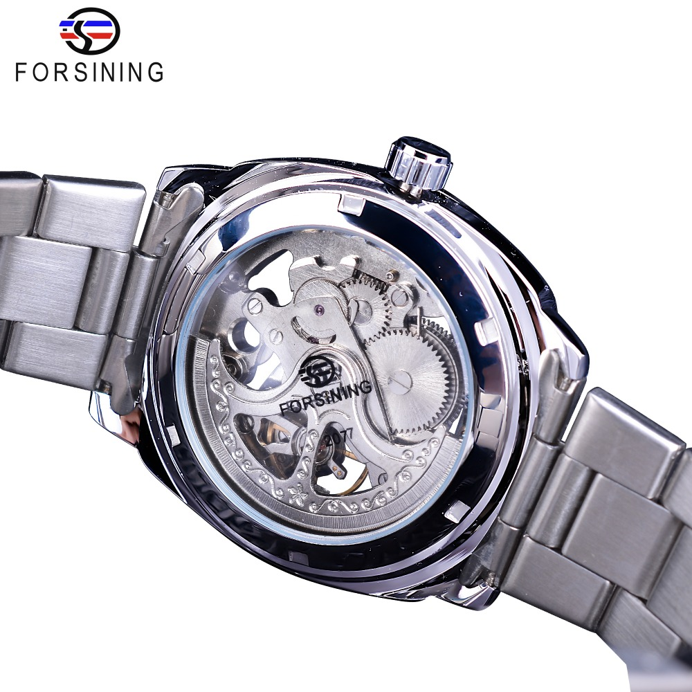 Image 4 - Forsining, серебряные часы, складная застежка, с безопасной застежкой, Мужские автоматические часы, Лидирующий бренд, роскошные прозрачные часы, светящиеся стрелки-in Механические часы from Ручные часы on AliExpress - 11.11_Double 11_Singles' Day