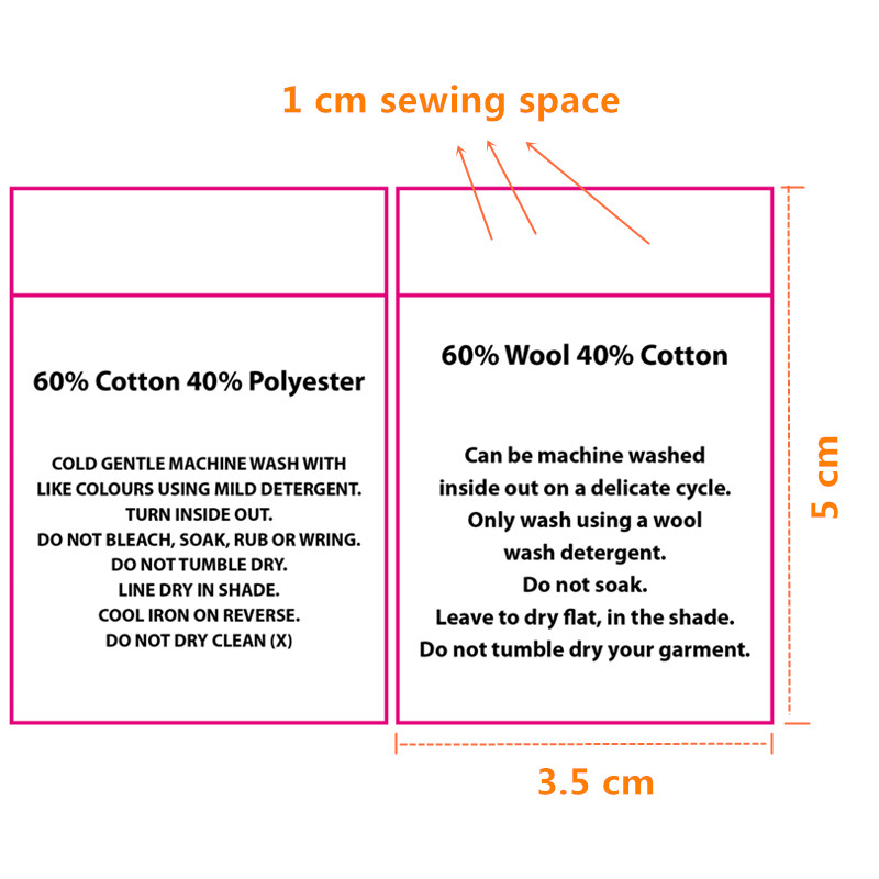Fantastic 60%Cotton&40%Polyester writings Soft satin cloth washing labels  ND37