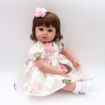 """Bebe 22"""" Reborn babies girl doll toys gift high quality silicone doll reborn cloth body fashion dress  bonecas reborn"""