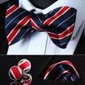 BZS04V Azul Marinho Listrado Vermelho De Seda Homens Auto Gravata Gravata lenço Abotoaduras set
