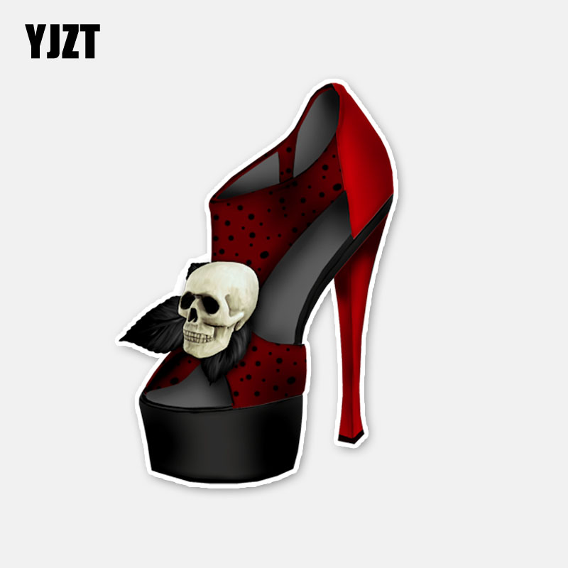YJZT 7CM*10CM Personality High-heeled Shoes Skull Motorcycle Window Car Sticker Decal 6-2880