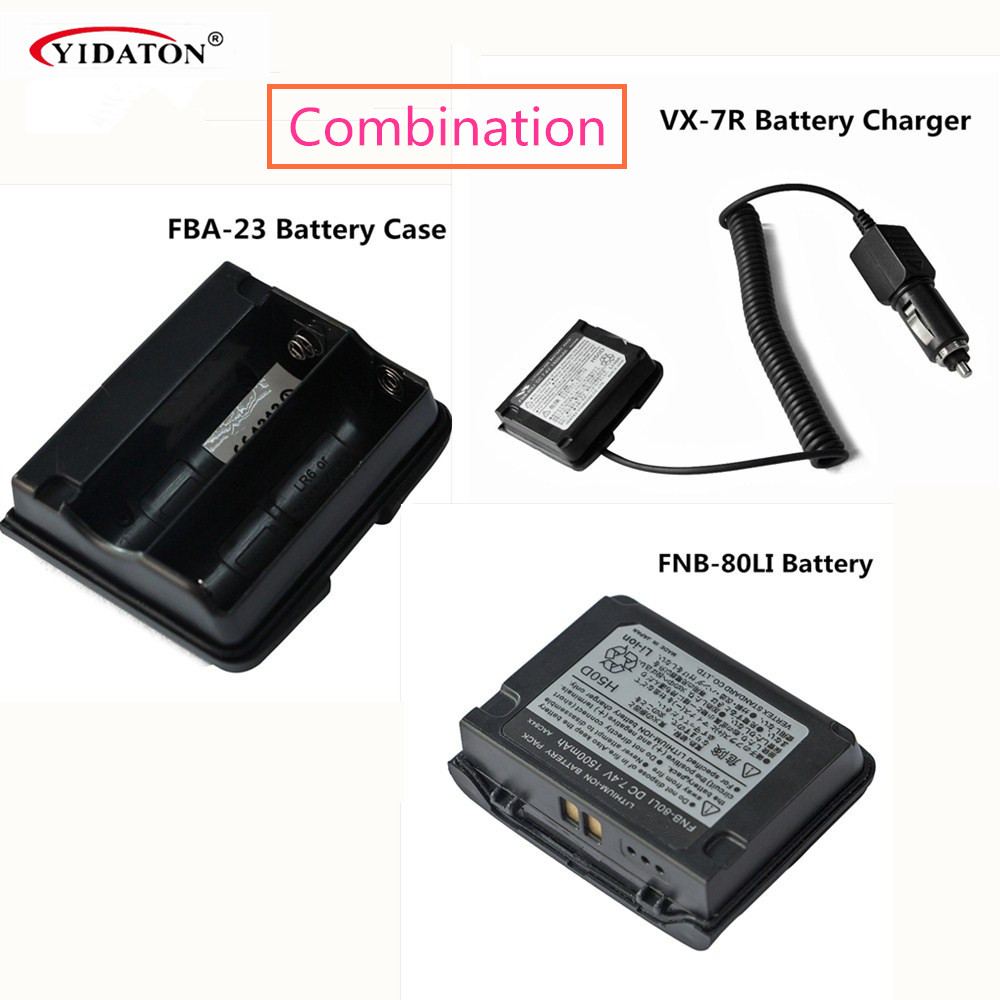 FNB-80LI LITHIUM Battery Pack + FBA-23 Battery Case + VX-7R Charger For Two Way Radio VX-5R VX-6R VX-7R VX-6E Walkie Talkie