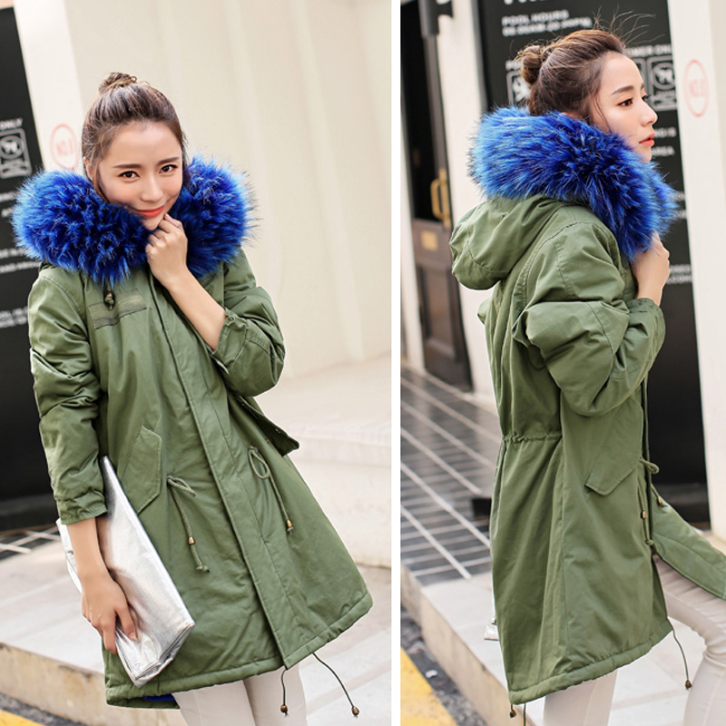 New 2017 Autumn Winter Jacket Women Lambs Wool Long Coat Women Raccoon Fur Removable Collar Lady Parkas Female Outerwear 2017 winter new clothes to overcome the coat of women in the long reed rabbit hair fur fur coat fox raccoon fur collar