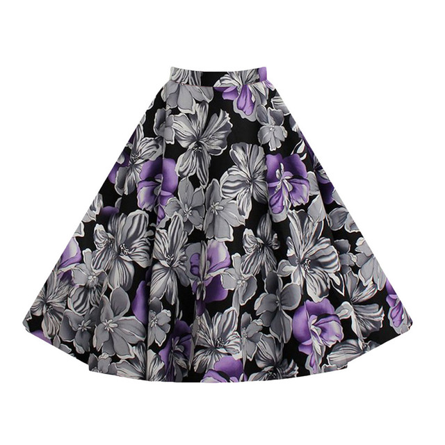 Women Vintage Stretch Floral Printed  Waist Flared Pleated Swing tutu Midi Skirt
