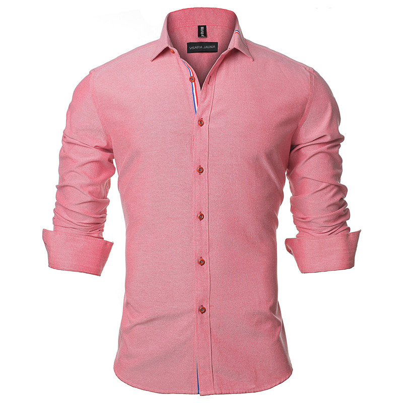 VISADA JAUNA 2017 Neue Männer Hemd Einfarbig Langarm Lässige Marke - Herrenbekleidung - Foto 4