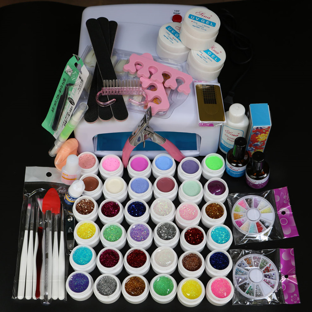 New Pro 24W Led 36W UV GEL polish with White Lamp & 36 Color UV Gel Nail Art Tools Set Kit Top coat & Base coat SI-111