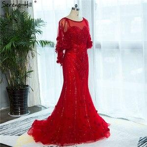 Image 4 - Женское вечернее платье с юбкой годе, красное платье с кристаллами и бисером, модель LA6135, 2020