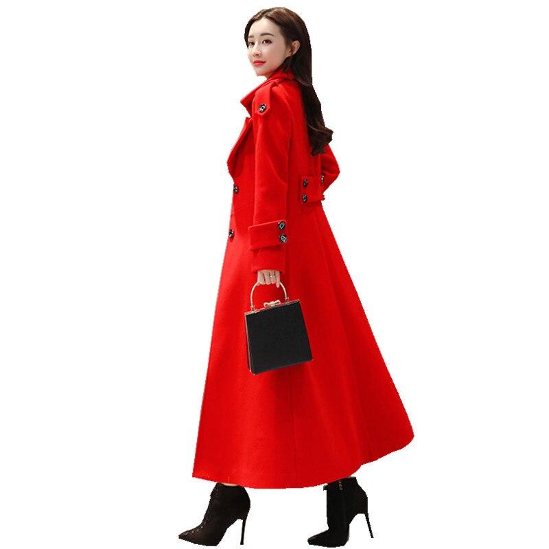 Red Long Wool Coat Women Single Breasted Thicken Winter Coat Women Fashion Elegant Ladies Parka Abrigo