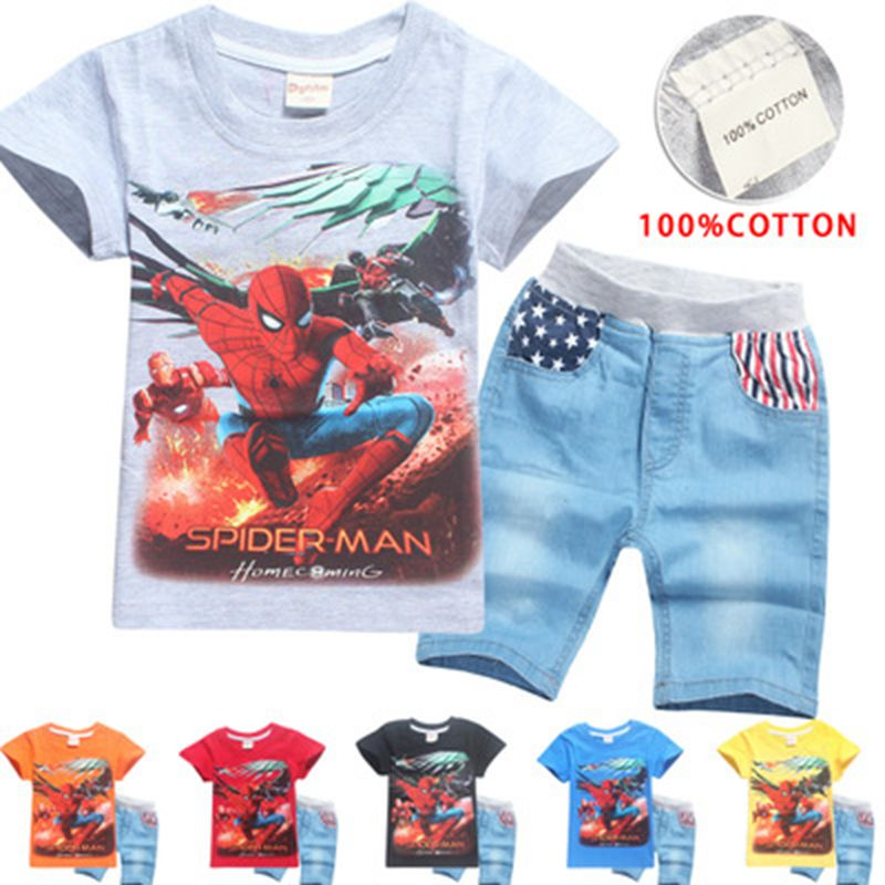 New Summer Children Cotton Clothing Sets Baby Boys Cartoon Clothes Sets Spiderman Kids T-shirt +Shorts 2Pcs Casual Sport Suit(China)