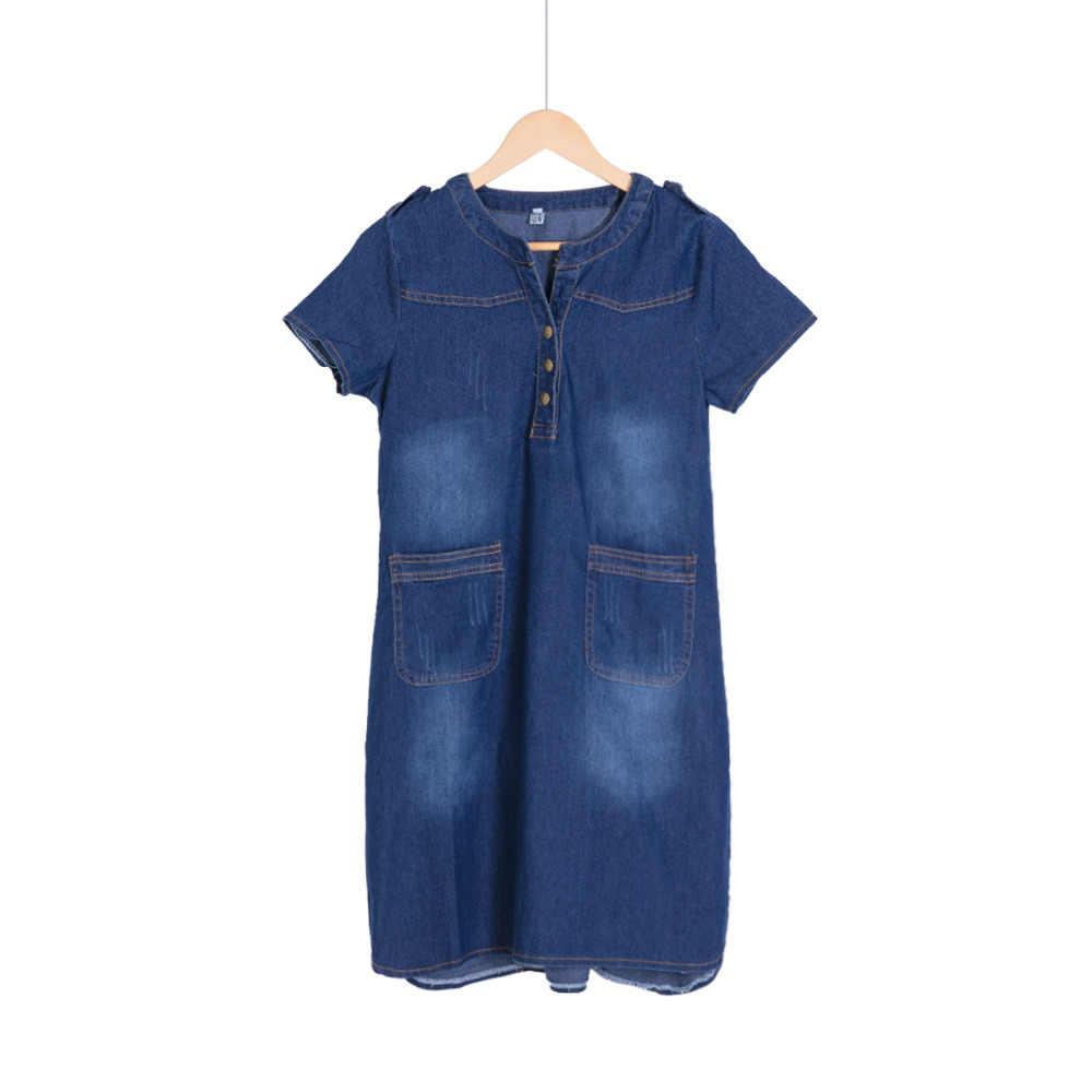 9284053a246c131 ... Новое поступление Летняя Для женщин джинсовые платья Рубашка с  короткими рукавами свободные линия платья больших размеров ...