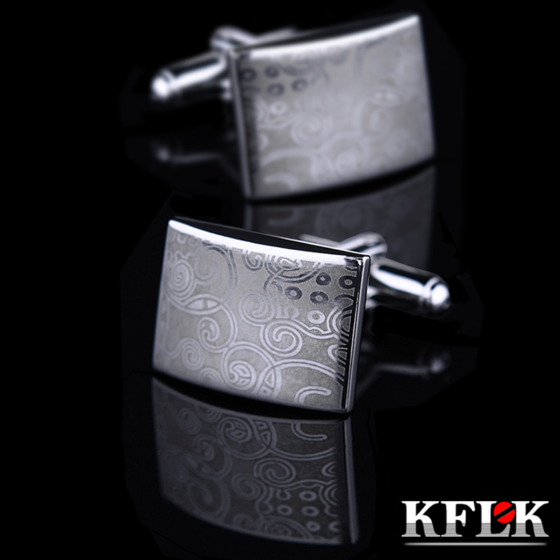 KFLK Jewelry Laser pattern shirt Silver cufflink for mens Brand Fashion Cuff link Wholesale Button High Quality Free Shipping