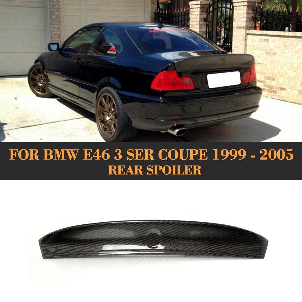 Kanat BMW için rüzgarlık E46 Coupe 1999-2005 için Araba Styling 3 Serisi Karbon Fiber Arka Spoyler Kanat Otomatik Yarış Kuyruk Bagaj boot Dudak