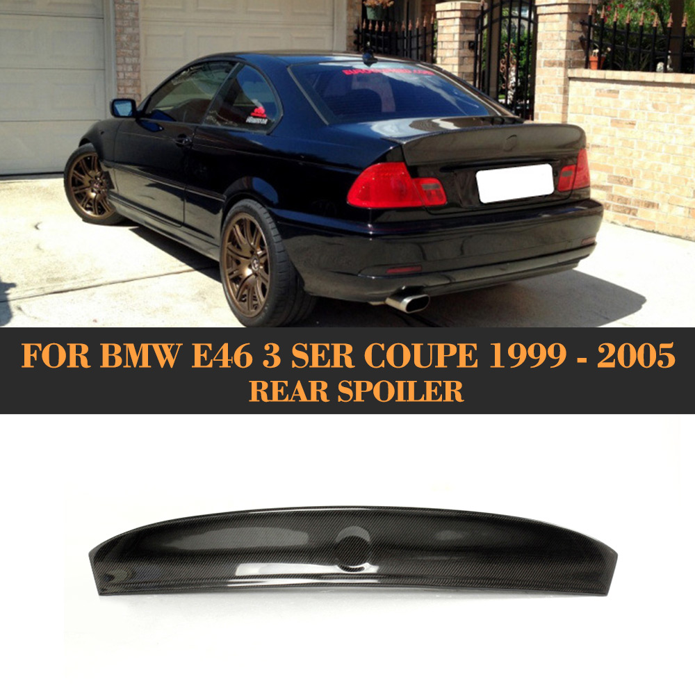 Wing Spoiler For BMW E46 Coupe 1999 - 2005 Car Styling 3 Series Carbon Fibe Rear Spoiler Wing Auto Racing Tail Trunk Boot LipWing Spoiler For BMW E46 Coupe 1999 - 2005 Car Styling 3 Series Carbon Fibe Rear Spoiler Wing Auto Racing Tail Trunk Boot Lip