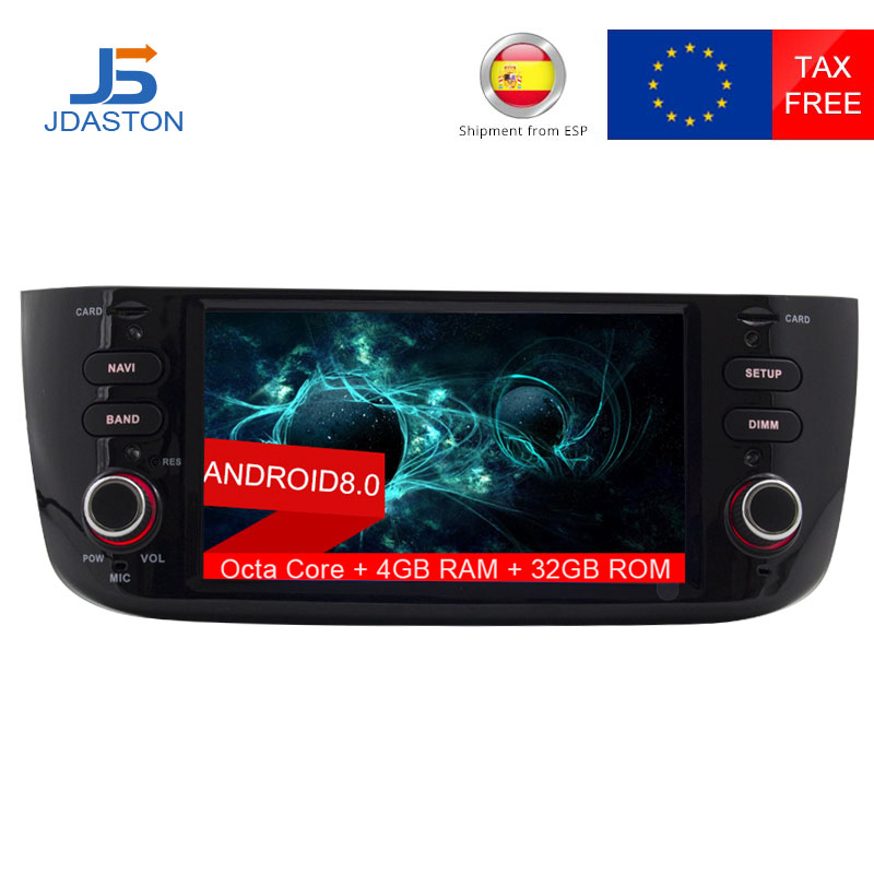 цена на JDASTON Android 8.0 Car Radio For Fiat Abarth Punto EVO Linea 2012-2016 Octa Cores 4G+32G Multimedia GPS Navigation Headunit AUX