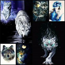 Full Drill 5D DIY Diamond Painting Animal Wolf 3D Embroidery Cross Stitch Mosaic Home Decor Gift 5d diy diamond painting full square drill wolf 3d embroidery cross stitch mosaic home y1281