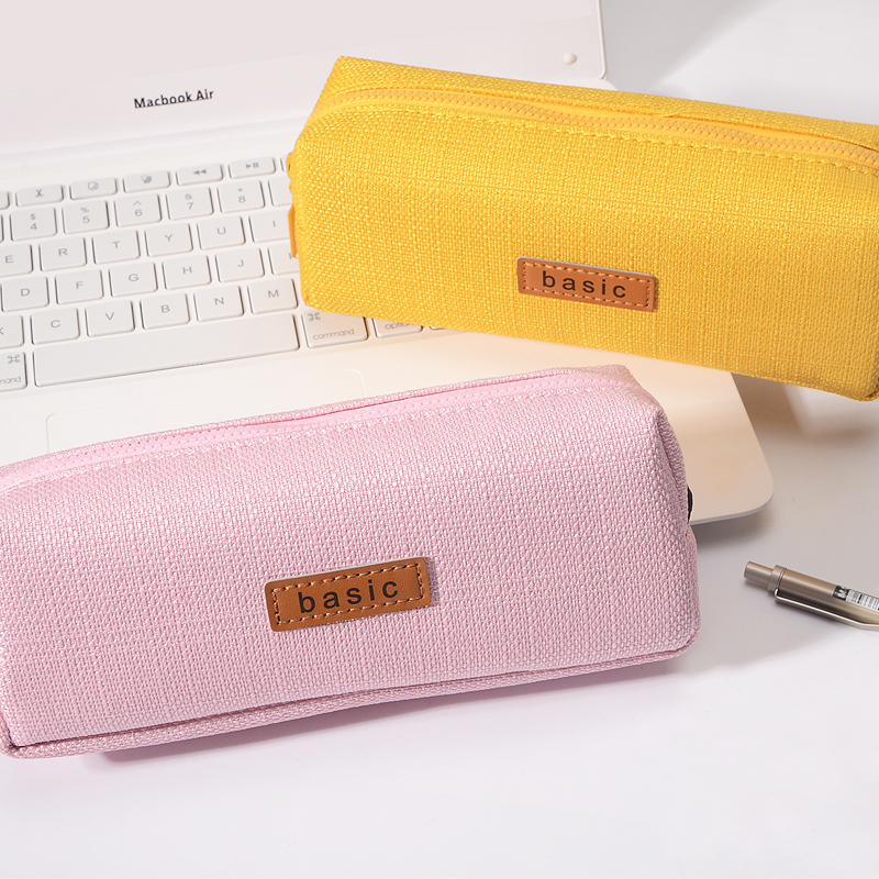 Kawaii Canvas Large Capacity Pencil Case School Supplies Simple Candy Color Stationery Pencil Box Storge Gifts School Tools