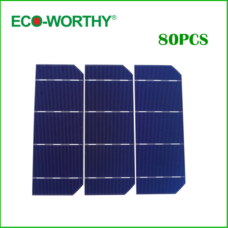 ECO-WORTHY 80pcs High Efficiency 6x2 Monocrystalline Solar Cell Photovoltaic Cell Solar 156 mono Solar Cell DIY 144W Solar Panel