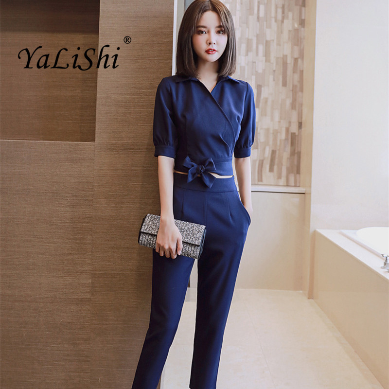 2019 Summer Women Suit Office Party Sexy Bodycon Vestidos Fashion Blue Grey Short Shirt Tops And Straight Pants 2 Piece Set