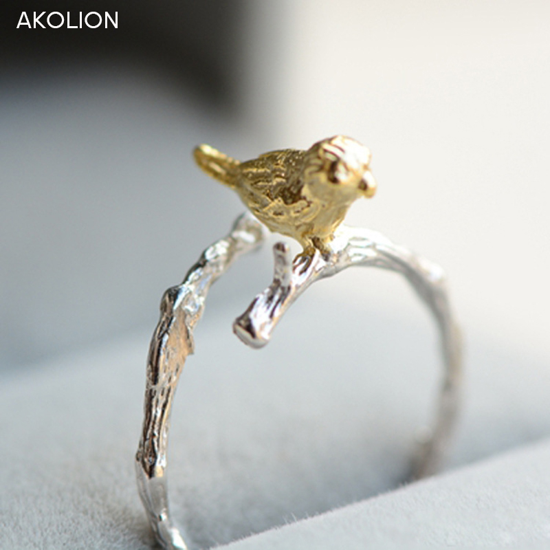 AKOLION Factory price Original Bird Silver Tree Ring Designer Adjustable Wedding Rings  Jewelry For Girl Women Couple Rings  mariposa en plata anillo