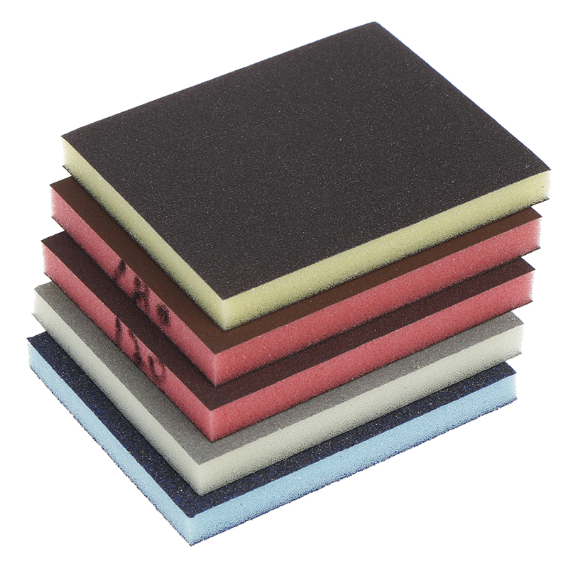 2pcs 120-1000grit Polishing Sanding Sponge Block Pad Sandpaper Assorted Abrasive Tool Random Color 120*100*12mm