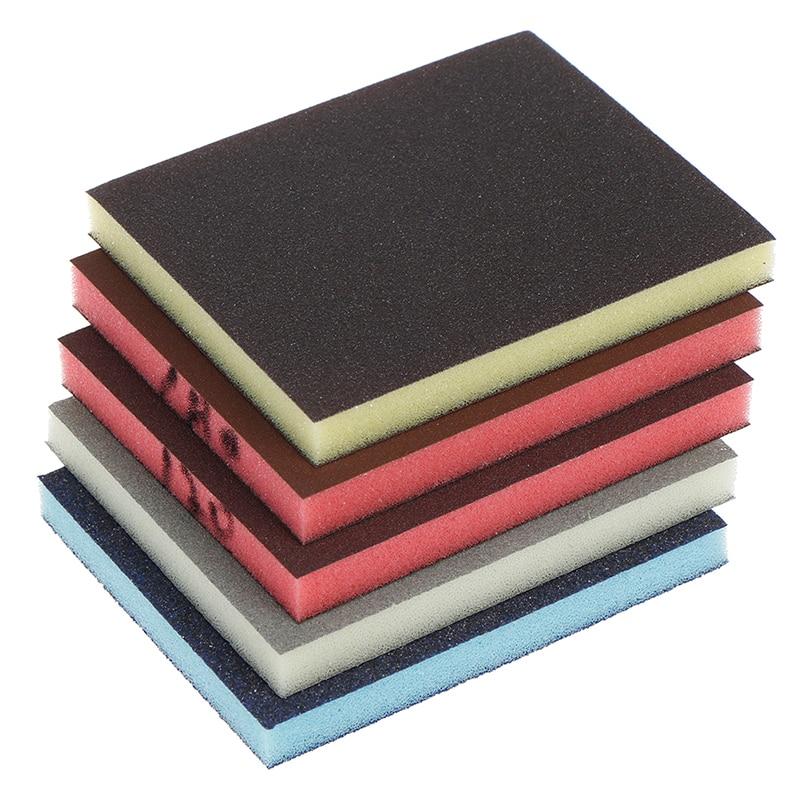 2pcs 120-1000grit Polishing Sanding Sponge Block Pad Sandpaper Assorted Abrasive Tool Random Color 120*100*12mm