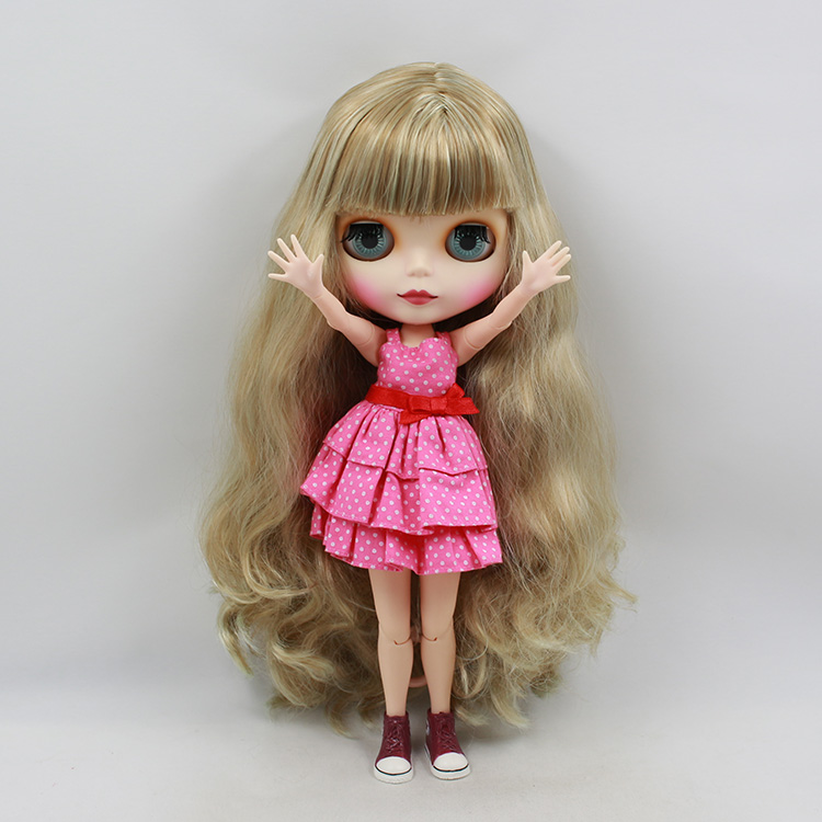 Blyth nude doll 30cm fashion birthday dolls Brown long hair with bangs joint body Wholesale blyth dolls for sale doll blyth yellow short hair with bangs nude blyth doll diy toys baby blyth dolls for sale